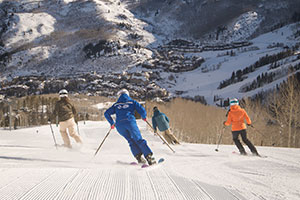 Beaver Creek Skiers on Groomed Run