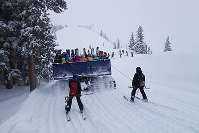 Ski Tractor with people