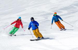 3 Skiers on Corduroy