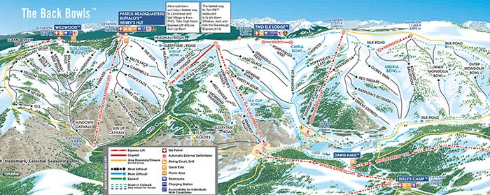Vail Back Bowls Map